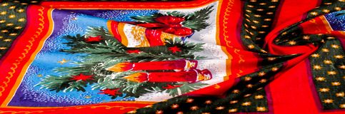 Struttura, modello cartoline di Natale del tessuto Prepari per uno del Fotografia Stock