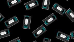 Struttura, modello senza cuciture delle videocassette analogiche antiche grige del film dei pantaloni a vita bassa dei vecchi ret illustrazione di stock