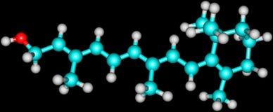 Struttura molecolare del retinolo (vitamina A) sul nero Fotografia Stock Libera da Diritti