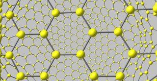 struttura molecolare del tipo di Graphene isolata su fondo grigio illustrazione di stock
