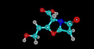 Struttura molecolare dell'acido clavulanico isolata sul nero royalty illustrazione gratis