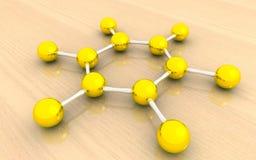 Struttura molecolare di benzene Fotografia Stock