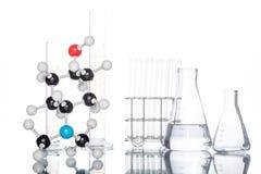 Struttura molecolare e becher Fotografie Stock Libere da Diritti