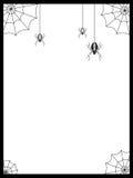 Struttura nera, bordo con tre ragni e Web Fotografie Stock Libere da Diritti