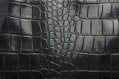 Struttura nera del cuoio del rettile con per fondo Fotografia Stock Libera da Diritti