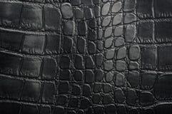 Struttura nera del cuoio del rettile con per fondo Immagini Stock Libere da Diritti