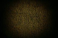 Struttura o priorità bassa nera gialla della tela di canapa Fotografie Stock Libere da Diritti