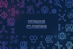 Struttura orizzontale del profilo variopinto della clonazione umana di vettore royalty illustrazione gratis