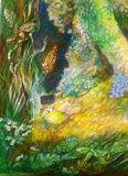 Struttura ornamentale del fondo astratto con il modello della pianta Fotografia Stock Libera da Diritti