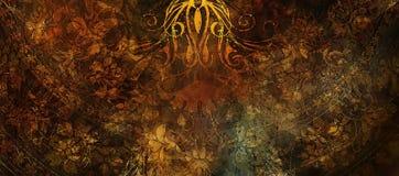 Struttura ornamentale di colore, fondo ornamentale floreale Toni di seppia immagini stock