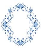 Struttura ovale con gli elementi floreali Fotografia Stock