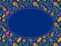 Struttura ovale del fiore di vettore con il posto per il vostro testo Backgrou blu royalty illustrazione gratis