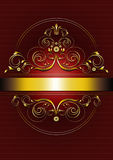 Struttura ovale dell'oro elegante con i fronzoli, i petali e la corona Fotografie Stock