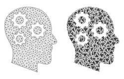 Struttura poligonale Mesh Brain Gears del cavo ed icona del mosaico illustrazione di stock