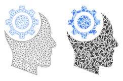 Struttura poligonale Mesh Human Intellect Gear del cavo ed icona del mosaico illustrazione di stock