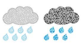 Struttura poligonale Mesh Rain Cloud del cavo ed icona del mosaico royalty illustrazione gratis