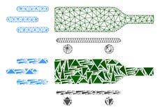 Struttura poligonale Mesh Rolling Wine Delivery del cavo ed icona del mosaico illustrazione vettoriale
