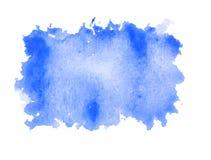 Struttura quadrata approssimativa di forma della pittura di colore di acqua blu su backg bianco Fotografie Stock Libere da Diritti