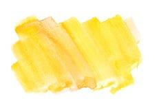 Struttura quadrata approssimativa di forma della pittura di colore di acqua di giallo arancio su wh Fotografia Stock