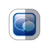 struttura quadrata blu dell'autoadesivo con i fumetti Immagine Stock Libera da Diritti
