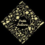 Struttura quadrata con maccheroni italiani dei generi differenti la mano colorata giallo-chiaro attinge il fondo nero royalty illustrazione gratis
