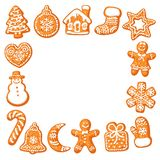 Struttura quadrata dei biscotti del pan di zenzero di Natale Illustrazione disegnata a mano di vettore isolata su fondo bianco Di illustrazione vettoriale