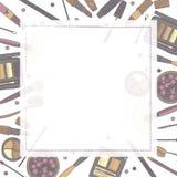 Struttura quadrata dei cosmetici decorativi, con il posto per testo Stile disegnato a mano Roba della donna Elementi colorati tra Fotografia Stock