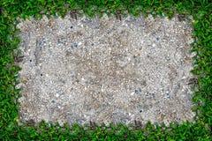 Struttura quadrata dell'erba con copia-spazio sul fondo della sabbia Fotografie Stock Libere da Diritti