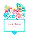 Struttura quadrata di vettore con i fiori esotici royalty illustrazione gratis