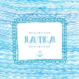 Struttura quadrata disegnata a mano su struttura marina dell'acquerello dell'onda Contesto artistico di vettore Fotografia Stock Libera da Diritti