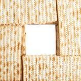Struttura quadrata formata con il flatbread di matza Fotografia Stock Libera da Diritti