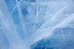 Struttura regolare trasparente della superficie del ghiaccio Immagini Stock