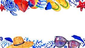 Struttura rettangolare con gli oggetti della spiaggia e sealife su alto e su basso Illustrazione disegnata a mano dell'acquerello illustrazione vettoriale
