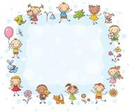 Struttura rettangolare con i bambini ed i fiori Immagini Stock Libere da Diritti