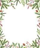Struttura rettangolare dell'acquerello con le composizioni in Natale royalty illustrazione gratis