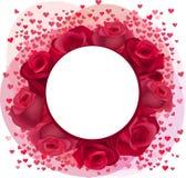 Struttura romantica in bianco con le rose ed i coriandoli rosa Immagini Stock Libere da Diritti