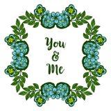 Struttura rosa blu del fiore del vario estratto dell'illustrazione di vettore con la decorazione della carta voi e me royalty illustrazione gratis