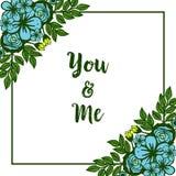 Struttura rosa blu del fiore del vario estratto dell'illustrazione di vettore con la decorazione della carta voi e me illustrazione vettoriale