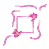 Struttura rosa decorata con la struttura del flowersPink decorata con i fiori del telaio di BergeniaPink decorati con i fiori di Fotografia Stock Libera da Diritti