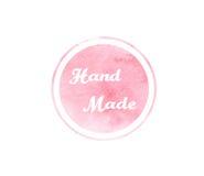 Struttura rosa dell'acquerello con il segno rotondo ed il testo fatto a mano royalty illustrazione gratis
