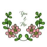 Struttura rosa sveglia della corona dell'illustrazione di vettore per la lettera voi e me royalty illustrazione gratis