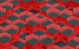 Struttura rossa del fondo di esagono 3d rendono Immagine Stock