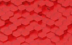 Struttura rossa del fondo di esagono 3d rendono Immagini Stock Libere da Diritti