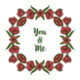 Struttura rossa della corona di varia arte dell'illustrazione di vettore per la carta voi e me royalty illustrazione gratis