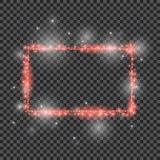 Struttura rossa di scintillio di vettore con gli effetti delle luci Buon per la festa di Natale 2018 Insegna brillante di rettang illustrazione di stock