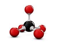 Struttura rossa e nera della molecola, bianco isolato Fotografia Stock Libera da Diritti