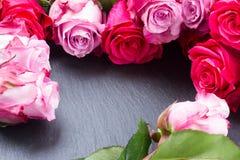 Struttura rossa e rosa delle rose sulla tavola Fotografie Stock