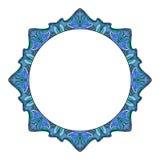 Struttura rotonda con gli scarabocchi disegnati a mano dell'acquerello origine etnica tribale blu con spazio per testo Fotografia Stock