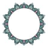 Struttura rotonda con gli scarabocchi disegnati a mano dell'acquerello origine etnica tribale blu con spazio per testo Fotografie Stock