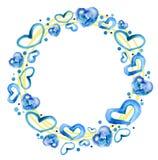 Struttura rotonda con i cuori blu su un fondo bianco Immagini Stock